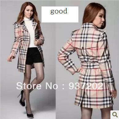 British Style Trench Coat Autumn-Summer Women's Plaid Pattern Trench Coat(China (Mainland))