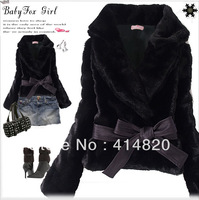Fashion New Short Coat Women's Korean Style Outwear Belted Faux Fur Rabbit Hair