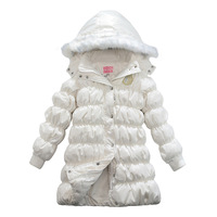 279 hodginsii bear winter children's clothing female child white duck down medium-long thermal down coat solid color