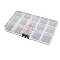 15 Detachable Clear Plastic Divided Storage Box Rhinestone  Nail Art Tips P4PM