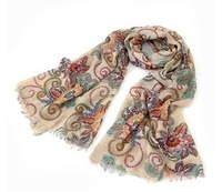 RETAIL 2013 AUTUMN WINTER NEW WOMAN FASHION SILK Retro VINTAGE FLOWERS totem LONG scarves shawls FOR WOMEN 190*85