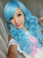 Multicolour HARAJUKU 65cm Sky Blue Culy Wave Party Cosplay Costume Wig Hair Free Shipping