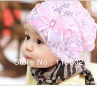 Lovely Children's Bowknot Cap, lace baby hat, princess Baby Cap Free shipping RT004
