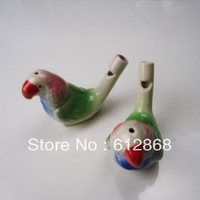 Green parrot feathers Ceramic water birds whistling music furnishing articles children fun toysYH-10 10pcs/loty1-7g50
