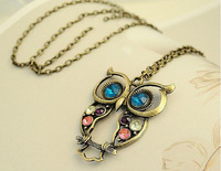 Mix Order $10(Mix Items)Vintage Fashion Cute Animal Owl Antique Bronze Long Chain Sweater Necklace