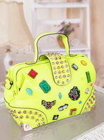 Free Shipping 2013 women's handbag multicolour gem badge handbag shoulder bag messenger bag doctors bag  Wholesale Xmas Gift