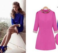 Free Shipping!2013  Ladies European and American  diamond-studded collar round neck womens fashion winter dress