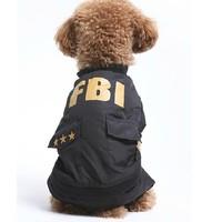 Free Shipping FBI dog coat Pet autumn & winter clothing Dog clothes, Black XS/S/M/L/XL