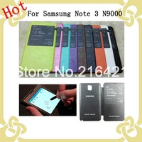 Caller Display Flip Battery Leather Case Cover Skin Housing for Samsung Galaxy Note 3 N9000 Perfect Fit Detail Pack Free Ship