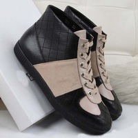 2013 Winter new fashion famous brand boots for women black genuine leather  quilted , Lace-Up mid-calf boots