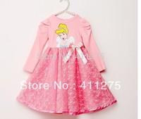 retail Spring clothing girls leice dresses children kids long sleeves pink  Princess cartoon dress XZQ