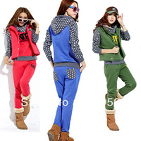 Plus size fleece 2013 piece set sweatshirt thickening women's casual sportswear set autumn and winter new arrival