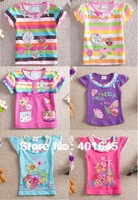 baby girl embroidery flower short sleeve t-shirt cute and high quality