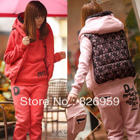 2013 women's casual sports suits lace thickening fleece sweatshirt piece set