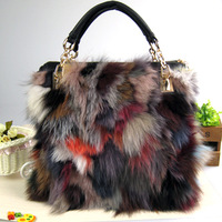 REAL Fox Hair  + Genuine Leather Bags Decoration Women's Handbag Multicolour Fur Bags