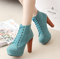 Free shipping Jeffrey campbell Women's high heels pumps boots shoesAutumn Winter fashion sexy ankle platform thick lacing blue