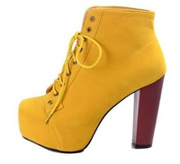 sibyl merchant ,new arrive solid yellow lady square heels boots,most popular women high heels