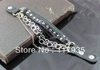 New 2013 hot sale EuropeStyle rasta  punk leather wristband bracelets for men bijouterie Dermal layers chain