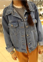 Free shipping lady coat cowboy coat loose women long sleeve loose tannins jean jacket wholesale and retail