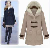 2013 autumn and winter women fashion medium-long normic slim woolen outerwear slim wool coat with a hood outerwear