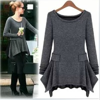 2013 autumn fashion plus size solid color long-sleeve knitted basic female women's one-piece dress