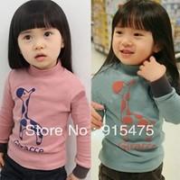 free Shipping , spring and autumn Children's wear, girl long sleeve High collar T shirt, kids giraffe backing shirt clothes