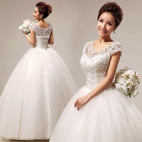 Free shipping new 2013 bride slit neckline cute lace princess sexy bridal wear diamond decoration white wedding dress hs290