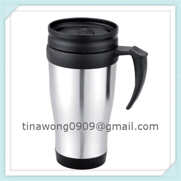 Free shippment 400ml double wall mug stainless steel outer plastic inner mug(China (Mainland))