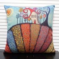 Beautiful Creative Colorful Farm Castle Linen Cotton Cushion Cover Pillows Decorate for a Sofa Pillow Case Wholesale