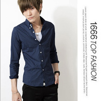 Men's clothing autumn new arrival 2013 slim Men shirt male long-sleeve polka dot shirt boys all-match top