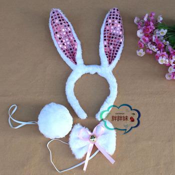 Child rabbit ears headband rabbit animal lady hair accessory animal headband animal piece set paillette rabbit ears
