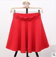 Women's Solid Red Autumn Lovely falbala Lady Skirt
