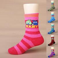 Cbl child boneless loop pile socks thickening stripe thermal socks baby socks thick socks 201109