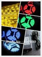 SMD 3528 led strip+12v 5A Power Adaptor LED Strip light flexible 300LED 60leds/m Waterproof 6 colors
