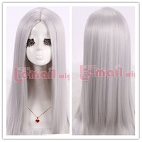 60cm medium straight gray center parting invisible part wigs cosplay hair ZY13