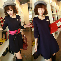 Autumn new arrival 2013 all-match loose solid color knitted long-sleeve women's one-piece dress with belt