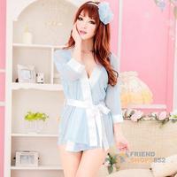 #F9s Sexy Lingerie Lady Underwear Set Blue Open Front Sleepwear Pajamas G-string