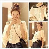 Women's Lovely White Knitting Sweater Wrap Fur Sleeve Short Top