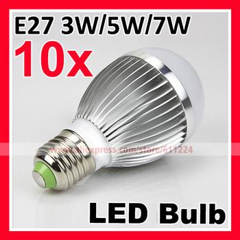 Free shipping High Power E27 3W 5W 7W LED Bulb AC85~265V Coolwhite/Warm white 2 Years warranty LED Light Bulb Lamp