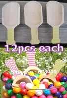 36  - 3 Inch MINI Small Wooden Candy Scoops with Stripes Chevron, and Dots, Yellow ,Bath Salt Scoop, Hand Stamped, Free Shipping