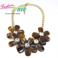 2013 New Design Luxury Personalized Retro Color Big Flower Necklace Exaggerated Crystal Women Jewelry Free Shipping