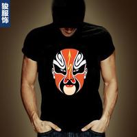 personalized FUNNY Chinese style  t-shirt short-sleeve peking opera  Men short sleeve T shirt 100% cotton o-neck print
