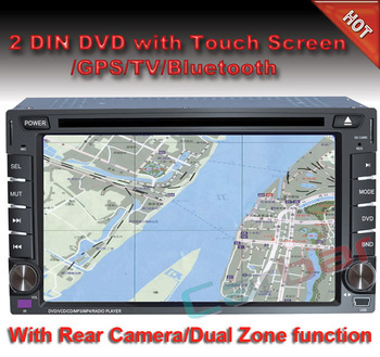 "6.2"" Universal 2 Din Car DVD Player with GPS Navigation Audio Radio Bluetooth TV and Digital touch screen"