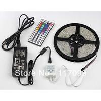 Cheap 5m 3528 SMD RGB led strip Flexible 60LED/Meter waterproof +44key IR Controller +12v 5A Power supply