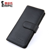 Male long design genuine leather multifunctional card holder large capacity commercial brief clip wallet k170