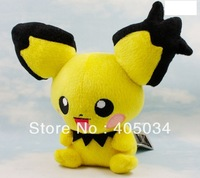 "7.5"" Plush Pichu dolls Pokemon anime toys Cuddly gifts baby dolls Stuffed toys Christmas gifts 10pcs/lot"