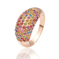 Freeshioping ( Min.Order Is $10 )  2013 fashion crystal jewelry fashion rings 18K gold plated italina rings for women R053