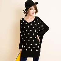 2013 new winter fashion sweet ladies bat sleeve knit dress wave point long pullover sweater dress Free shipping