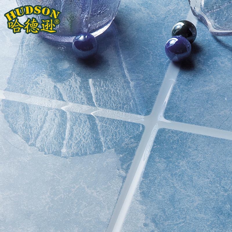 Bathroom Tile Slip Resistant Glazed Floor Tiles Light Blue Stone