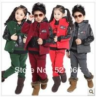 FREE SHIPPING 2013 Fashion New Children Boy Girl Sport Sets fleece+ pants+coat Kids clothing Kids cloth suit winter